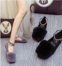 Wholesale Scoop Shoes - Ultra-sprouting lazy rabbit plush flat shoes 2016 autumn and winter new Korean women's shoes scoop shoes plush shoes