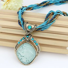 Wholesale Vintage Handmade Bead Necklace - Wholesale-New 2016 Vintage Bohemian Imitation Gemstone Jewelry Handmade Beads Chain Statement Necklaces Pendants for Women Accessories