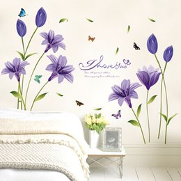 Wholesale Purple Wall Stickers - Beautiful flower purple Lily DIY home decorative wall stickers home decor self adhesive wall decal vinilos decorativos pegatinas 60x90cm pc