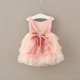 Wholesale Holiday Clothing Girl - Everweekend Girls Tutu Lace Bow Dress Pink Color Ruffles Princess Holiday Costume Party Dress Western Fashion Sweet Children Clothing