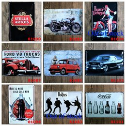 Wholesale Retro Car Posters - Motorcycle Car Beer Tin Poster Retro 20*30cm Metal Tin Sign Stella Artois Beatles Coca Cola Iron Paintings Creative Home Wall Decorate