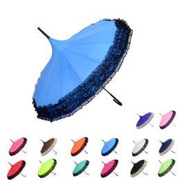 Прямой ручка для дождя онлайн-Пагода Кружева Зонтик Долго Обрабатываются Прямые Пагоды Зонтики Ретро Свежие Стрелять Фон Бумбершут Пик Изобретательности Солнце Дождь Зонтик