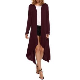 Wholesale Drape Sleeve Cardigan - Wholesale- Autumn Fashion Women Cardigans Thin Sweater Coat Long Knitted Sleeve Asymmetric Drape Open Stitch Solid Sweaters Plus Big Size