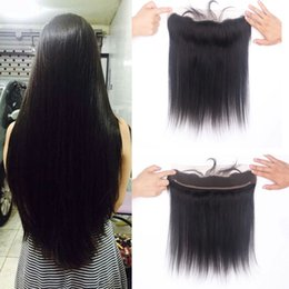 Wholesale Lace Frontal Closure 13x2 - 13x2 Lace Frontal Straight Unprocessed Brazilian Virgin Hair Natural Color Cheap 100% Human Hair Ear To Ear Lace Closure Natural Hairline