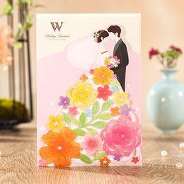 Wholesale Garden Invitations - Colorful Garden Wedding Invitations 50 Card with Flower+Customized Printing+50 envelope+50 seal Convites Casamento Wedding Supplies
