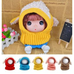 Wholesale Dog Baby Sets - Child Girl Cute Scarf Set New Winter Baby Warm Dog Knitted Crochet Cloak Hooded Hat Cap Beanie