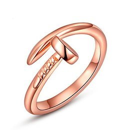 Wholesale Nails Bars - Fashion Women Rose Gold Nail Finger Ring Top Quality Silver Knuckle Ring Midi Ring For Women Party Wedding Bar Open Rings