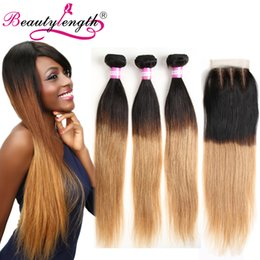 Wholesale Two Toned Lace Closure - Two Tone Brazilian Virgin Hair 3 Bundles With 13*4 Lace Closure Straight Weave Ombre Human Hair Bundle With Lace Closure Straight Hair
