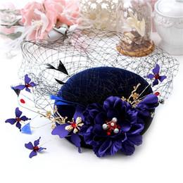 Wholesale Bridal Hair Cap - Church Derby Wedding Bridal Crystal Pearl Flower Butterfly Fascinators Cap Formal Hat Women's Hair Accessories Deep Blue Headpiece Tiara