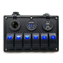 Wholesale Marine Led Rocker Switch - 12V USB Charger power socket 6 Gang Circuit LED Rocker Switch Panel with Breaker Voltmeter for ATV Boat marine Bus