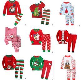 Wholesale Boys Long Sleeve Striped - Christmas Pajamas Outfits Kids Cartoon Snowflake Elk Cotton Christmas Pajamas Sets Boys and Girls Striped Nightwear Clothing Sets 917