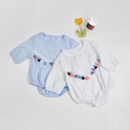 Wholesale Bohemian Jumpsuits - Baby Girls Romper Tassel Long Sleeve Newborn Jumpsuit New Summer Autumn Bohemian Style Infant Onesie Toddler Bodysuit C951