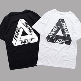 Wholesale Long Sleeve Women Printed Shirts - PALACE T-Shirt Men Women Short Sleeve Summer Cotton Tees Palace Skateboards Tri-Ferg White Black Shirt Floral Triangle Tees YBG0301