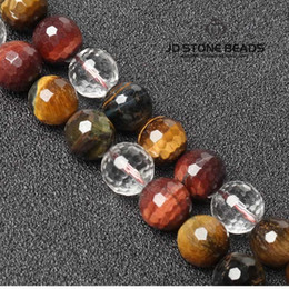Wholesale Tiger Eye Faceted - JD Stone Beads Faceted Tricolor Tiger Eye Natural Stone Beads Round Spacer Loose Beads For Jewelry Making DIY Bracelet&Necklace