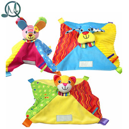 Wholesale Baby Soft Comforter - Wholesale- MQ Colorful Baby Comforter Toy Cute Cartoon Animal Soft Plush with Rattle Saliva Towel Baby Care