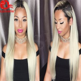 Wholesale Human Wigs For White Women - Blonde Ombre Lace Wigs For White Women Glueless Lace Fornt Ombre Wigs Human Hair 613 Platinum Blonde Ombre Full Lace Wig Bleached Knots