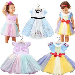 Wholesale Costume Children Cinderella - 3 Styles Baby Girl INS Snow White Cinderella Dress Children Summer Cartoon Cinderella Fashion bowknot Halloween Costumes Dresses