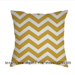 Fundas de almohada de impresión chevron online-Oro y blanco Chevron rayas zigzag estampado almohada decorativo funda de almohada personalizado 18x18 pulgadas cuadrado algodón funda de almohada