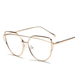 Wholesale Fake Glasses Frames - Wholesale- Rose Gold Polygon Metal Frame Eyeglasses Clear Lens Fake Glasses Oversized Spectacle Eyewear Frames For Women Men Oculos De Gr