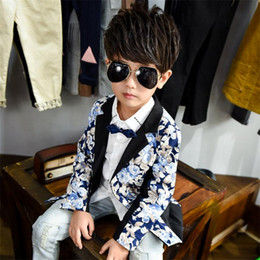 Wholesale Male Boys Clothes - fashion kid boy blazer coat gentle floral print Spring causal suit coat for 3-10years boys male children outerwear clothes hot