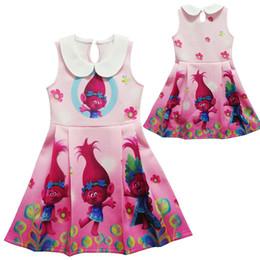 Wholesale Down Cartoon Vests - .Girl Trolls Princess lapel dress New Children high quality cartoon trolls sleeveless vest dresses clothes 2-10 years WD160
