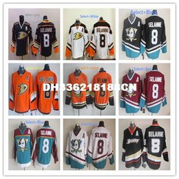 Wholesale Dry Ice Delivery - New Men's #8 Teemu Selanne Best quality 100% embroidery Throwback Hockey Jerseys Quick delivery