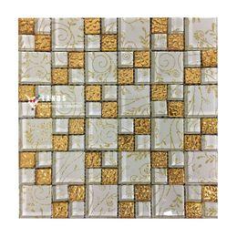 Wholesale Foil Strip - Gold foil glass mosaic tile,Glass brick,Livingroom glass mosaic tiles deco,Kitchen backsplash tiles,Bathroom wall tiles,LSTC010