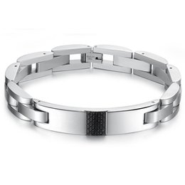 Wholesale Bracelet Link Types - The new type cool black carbon fiber Men's titanium steel bracelet