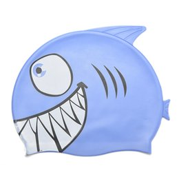 Wholesale Fishing Silicon - Wholesale- 1Pc New Cute Children Cartoon Swimming Cap Silicon Child Diving Waterproof Swimming Cap Fish Shark Pattern