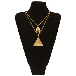 Wholesale Pharaoh Chain - High Quality Stainless Steel Men Hip Hop Gold Plated Pharaoh Pyramid Pendant Necklace Set Face Triangle Jewelry Sets