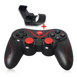 Wholesale Xbox Game Wholesale - T3 Bluetooth Gamepad For Android samsung Phone tablet pc Wireless Bluetooth Joystick Jaypad Game Controller With Mobile Holder