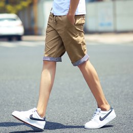 Wholesale Cargo Mens Wholesale - Wholesale-New 2016 Summer Shorts Men Fashion Casual Plaid Ruched Cargo Style Cotton Shorts Slim Fit Beach Mens Shorts M to 3XL
