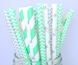 Wholesale Silver Paper Straws - Wholesale-Free Shipping 400pcs Silver and Mint Green Paper Straws Mix 4 Patterns,Party Supplies Paper Drinking Straws wholesale