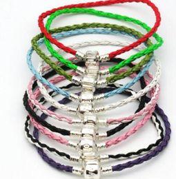 pulseiras de cobre de couro Desconto 20 pcs de prata do vintage pulseira de fivela de cobre de várias cores tecer couro boa sorte bangle para encantos europeus diy fazendo jóias novo m1871