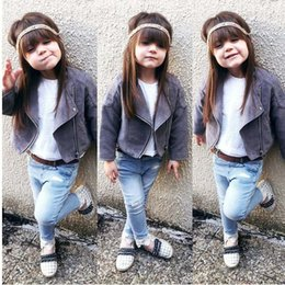 Wholesale American Baby Girls Leather Coats - Ins hot sale Autumn Winter Fashion suede baby leather coat Girls Jackets Coats Toddler Jackets Children Outwear Girls Clothes Tops A1316