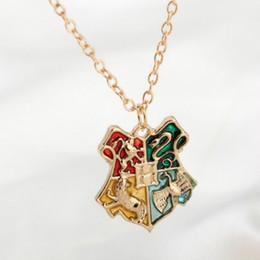 Wholesale Badge Chain Necklace - Wholesale-Hogwarts Badge Necklaces&Pendants Golden College Badge Necklace For Women and Men Fashion Jewelry Wholesale C15