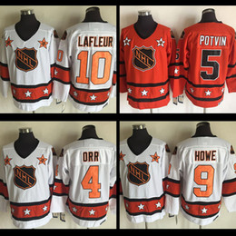 Wholesale Fast Stars - 1980 Throwback ALL Star Mens #9 Gordie Howe jersey #10 Guy Lafleur #5 Denis Potvin #4 Bobby Orr Star Embroidery Logos Fast Shipping