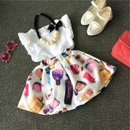 encantadora ropa al por mayor Rebajas Al por mayor-Lovely Baby Girls Toddler Tank Tops + Skirt Dress 2PCS Set ropa para niños