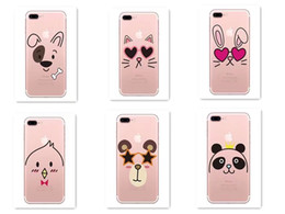 Wholesale Dog Tpu - French dog cat panda bird Pattern Soft Silicone Phone Case Cover for Iphone 6 6s 7 7Plus Transparent Funny Cool Cute Dog Coque
