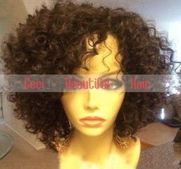 Wholesale Mongolian Kinky Hair Wig - 100% unprocessed brazilian hair curly short lace front wigs & full lace wigs glueless natural hairline human hair wigs for black women