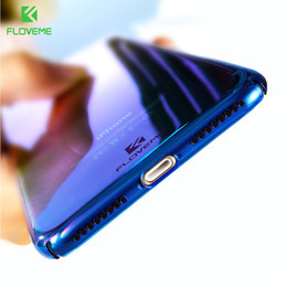 Wholesale Iphone 5s Cover Silicone - FLOVEME For iPhone 6 6S Plus Case 5 5S SE Gradient Blue-Ray Light Case For Apple iPhone 7 7 Plus 5S Clear Accessories Cover Capa