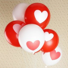 Wholesale Love Red Heart Balloons - 50pcs lot Romantic 12 Inches 2.8g Red Love Heart Latex Helium Balloons Wedding Decoration Valentines Day Birthday Party Balloons