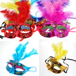 водить перьями Скидка Смешанный цвет Хэллоуин LED маска для лица Маскарад Косплей Хэллоуин подарок Priceness принц LED перо LED волокна для выбора