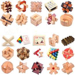Wholesale Luban Block - kids block toy adult educational toys hole Ming lock Luban lock classical intelligence wooden puzzle unlock disassembly toys B616