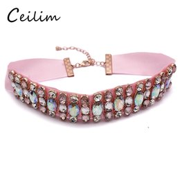 Wholesale Korean Gothic - 2017 Fashion Design Crystal Statement Choker Necklace for Young Women Lady Gothic Korean Pink Chokers Collar Neck Jewelry Gift