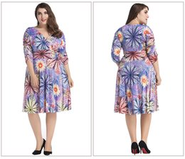 Wholesale Ladies Beautiful Gowns - Women Oversize Clothes 7XL Fashion Beautiful Floral Dress Patterns Deep V Neck Big Size Fat Ladies Women Dress