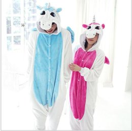 Wholesale Unicorn Blue - Q228 Hot Sale Blue Pink Winter Kawaii Anime Hoodie Pyjamas Cosplay Adult Onesie Christmas Unicorn Pajama Costume Unicorn Onesie