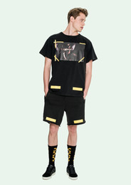 Wholesale Brand Named Hops - Wholesale-16ss mens hip hop brand name off white Arrows sweat shorts with yellow stamp