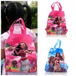 Wholesale String Backpack Kids - Min Order=10PCS Moana Children Cartoon Drawstring Backpacks School Bags 34*27CM Kids Best Birthday Gift Shopping Party Bags Free Shipping