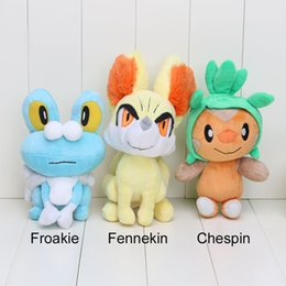 Wholesale Chespin Plush - 17-24cm Anime Cartoon Fennekin Chespin Froakie Pocket Center Plush Toys Soft Stuffed Animal Doll For Gifts